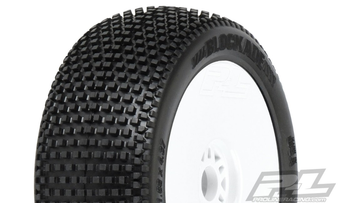 Pro-Line Blockade S3 (Soft) Off-Road 1/8 Buggy Tires Mounted on White Wheels (2) for Front or Rear