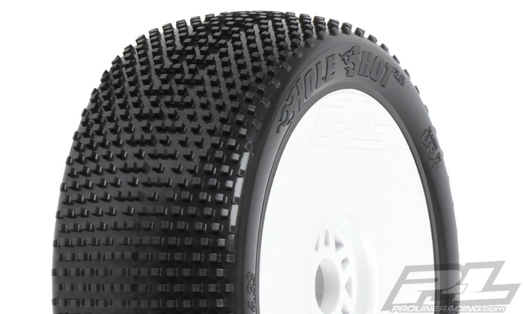 Pro-Line Hole Shot 2.0 S3 (Soft) Off-Road 1/8 Buggy Tires Mounted on White Wheels (2) for Front or Rear