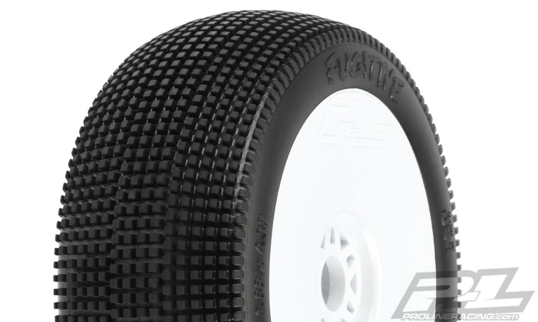 Pro-Line Fugitive S3 (Soft) Off-Road 1/8 Buggy Tires Mounted on White Wheels (2) for Front or Rear