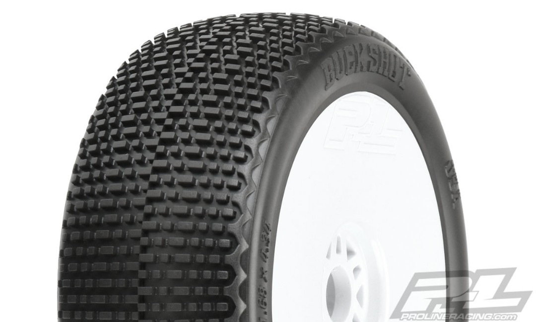 Pro-Line Buck Shot S3 (Soft) Off-Road 1/8 Buggy Tires Mounted on White Wheels (2) for Front or Rear