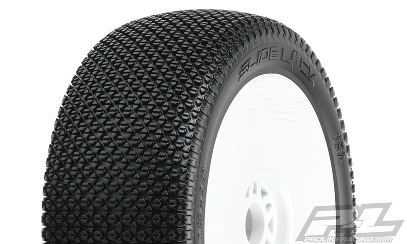 Pro-Line Slide Lock M3 (Soft) Off-Road 1/8 Buggy Tires Mounted on White Wheels (2) for Front or Rear