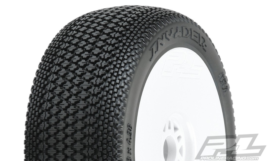Pro-Line Invader S3 (Soft) Off-Road 1/8 Buggy Tires Mounted on V2 White Wheels (2) for Front or Rear