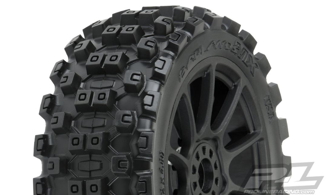 Pro-Line Badlands MX M2 (Medium) All Terrain 1/8 Buggy Tires Mounted on Mach 10 Black Wheels (2) for Front or Rear