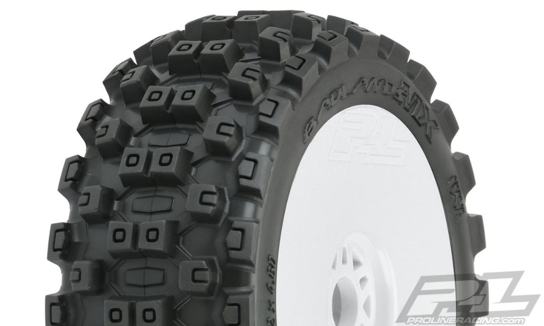 Pro-Line Badlands MX M2 (Medium) All Terrain 1/8 Buggy Tires Mounted on White Wheels (2) for Front or Rear