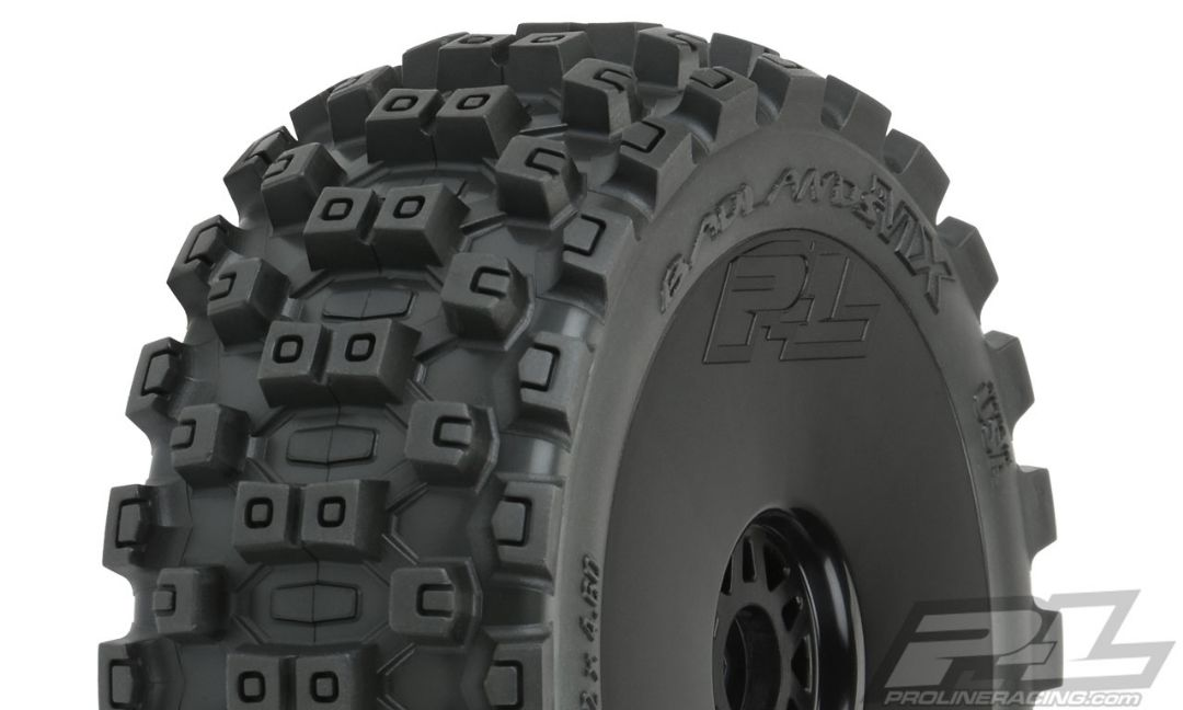Pro-Line Badlands MX M2 (Medium) All Terrain 1/8 Buggy Tires Mounted on Black Wheels (2) for Front or Rear