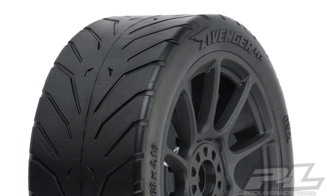 Pro-Line Avenger HP S3 (Soft) Street BELTED 1/8 Buggy Tires Mounted on Mach 10 Black Wheels (2) for Front or Rear