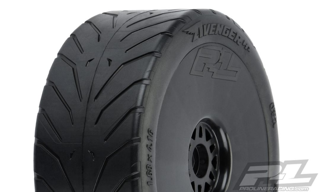 Pro-Line Avenger HP S3 (Soft) Street BELTED 1/8 Buggy Tires Mounted on Black Wheels (2) for Front or Rear