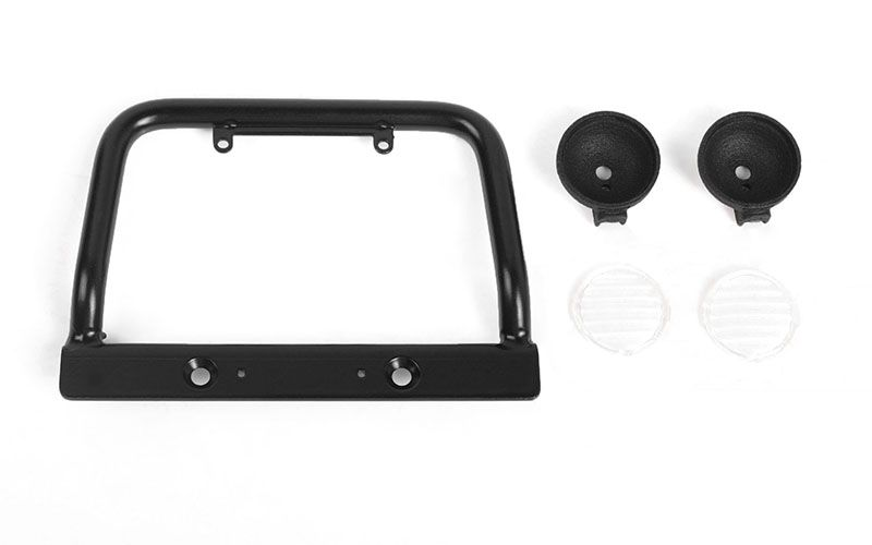 RC4WD Steel Push Bar Front Bumper W/ Clear Flood Lights for RC4W
