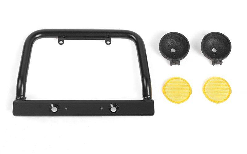 RC4WD Steel Push Bar Front Bumper W/ Yellow Flood Lights for RC4
