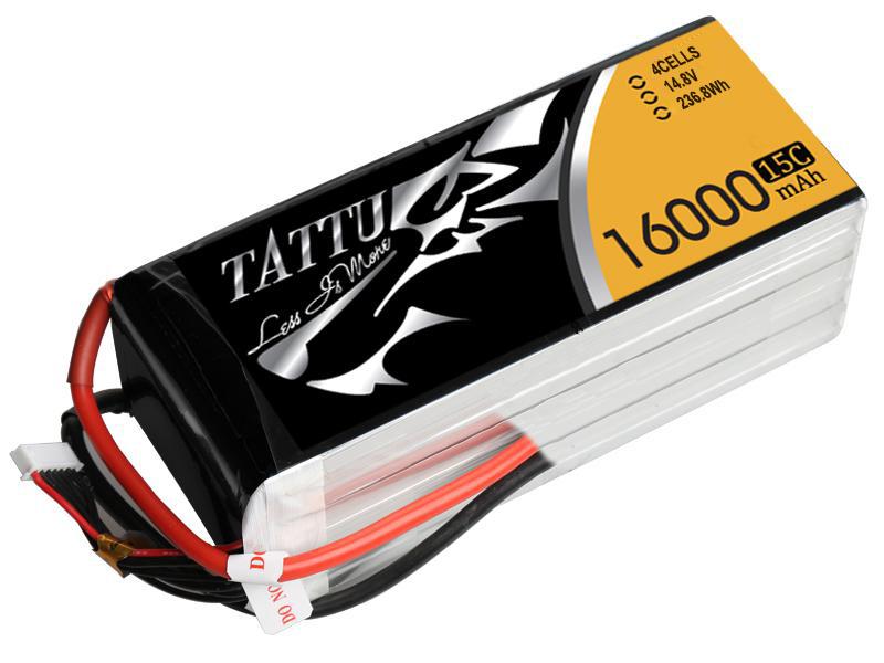 Tattu - 081 - 16000mAh 4S1P 14.8V 15C LiPo No Plug Soft Case 192x77x45mm