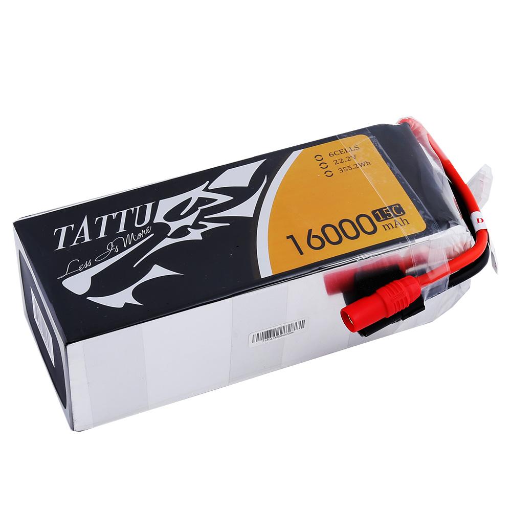 Tattu - 132 - 16000mAh 6S1P 22.2V 15C LiPo AS150 Plug Soft Case 180x74x65mm