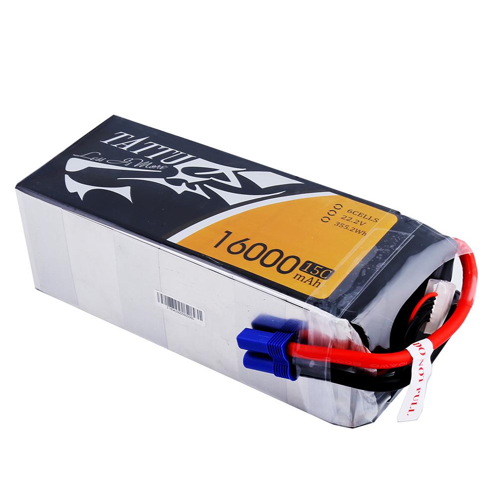Tattu - 187 - 16000mAh 6S1P 22.2V 15C LiPo EC5 Plug Soft Case 180x74x65mm
