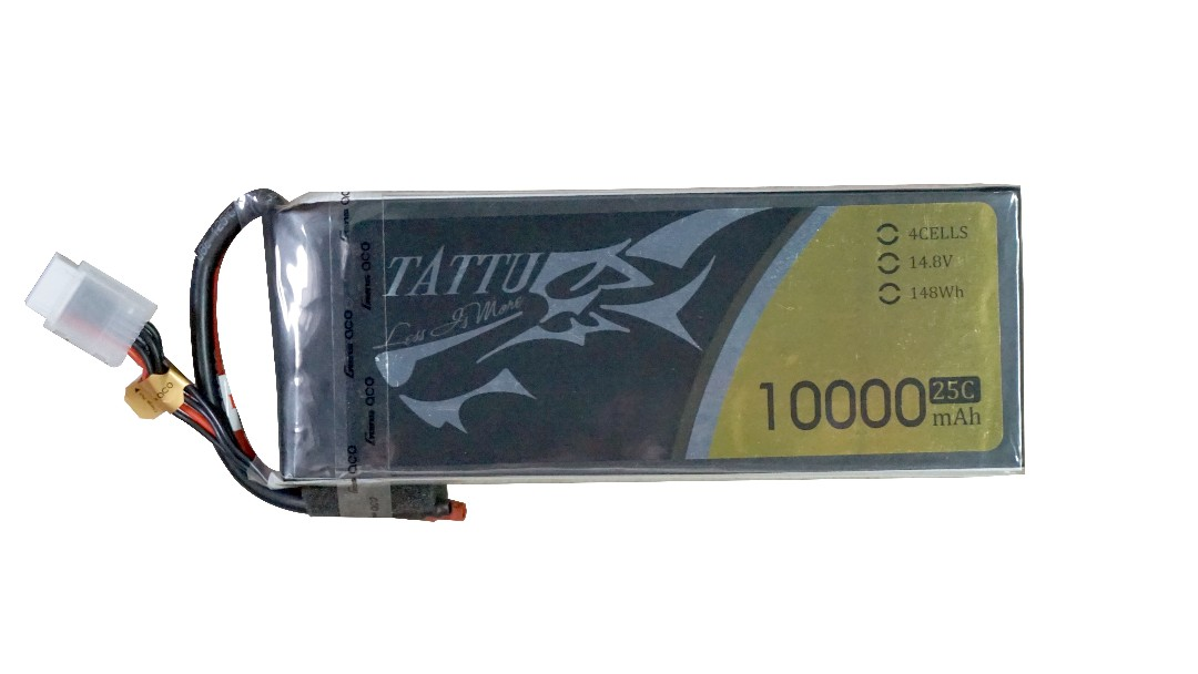 Tattu - 080 - 10000mAh 4S1P 14.8V 25C LiPo No Plug Soft Case 169x65x39mm