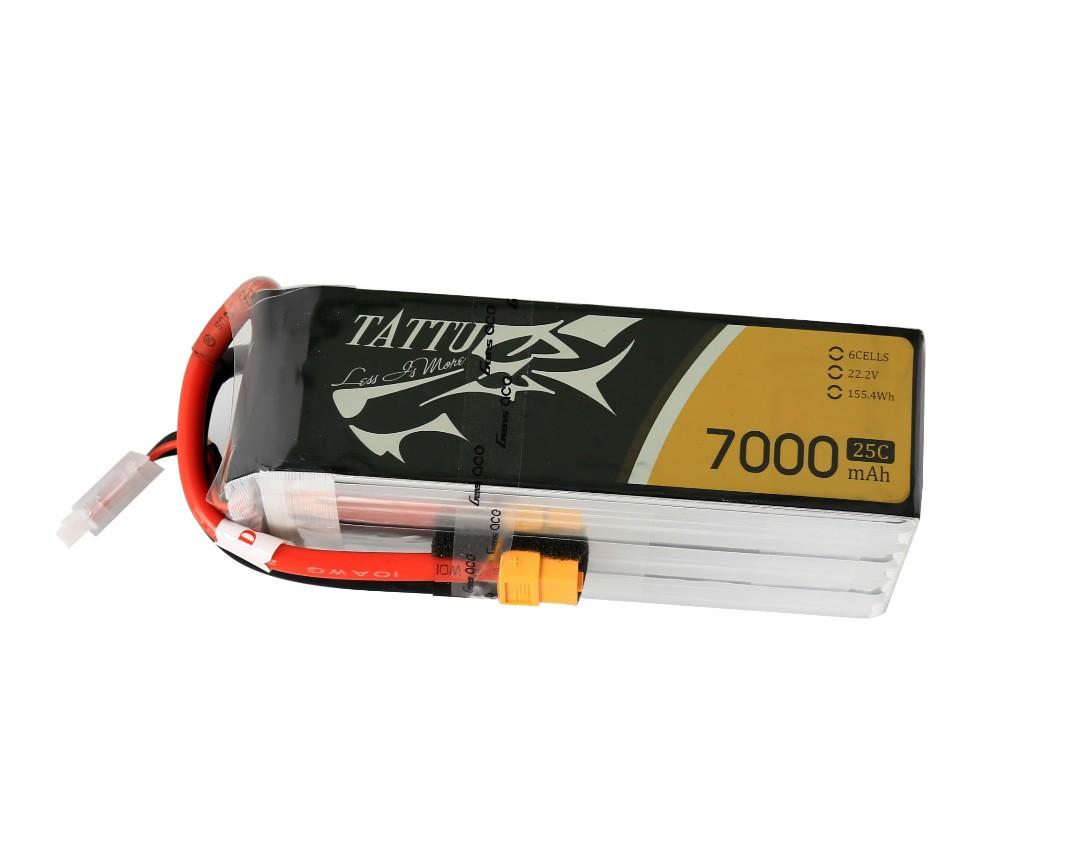 Tattu - 084 - 7000mAh 6S1P 22.2V 25C LiPo XT60 Plug Soft Case 138x42x65mm