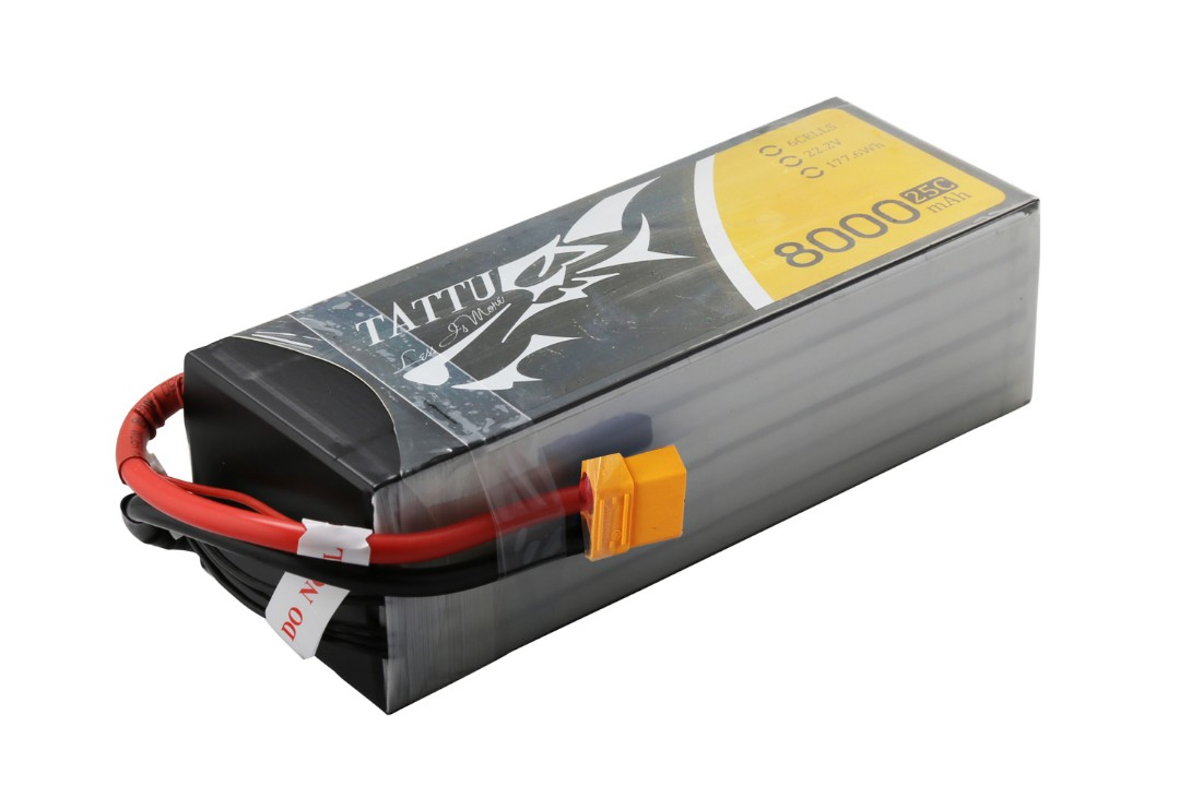 Tattu - 083 - 8000mAh 6S1P 22.2V 25C LiPo XT60 Plug Soft Case 168x65x51mm