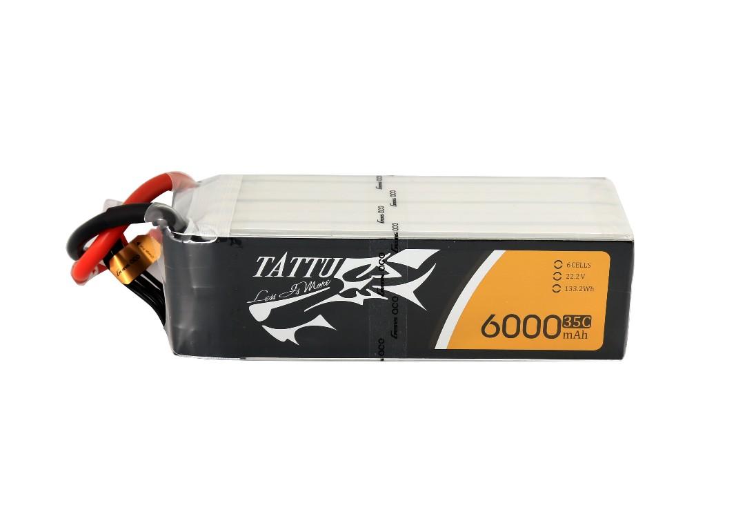 Tattu - 087 - 6000mAh 6S1P 22.2V 35C LiPo XT60 Plug Soft Case 148x45x59mm