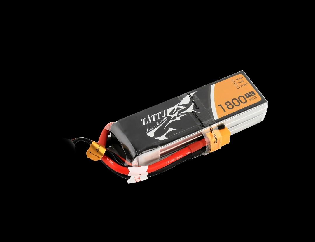 Tattu - 104 - 1800mAh 4S1P 14.8V 75C LiPo XT60 Plug Soft Case 106x36x25mm