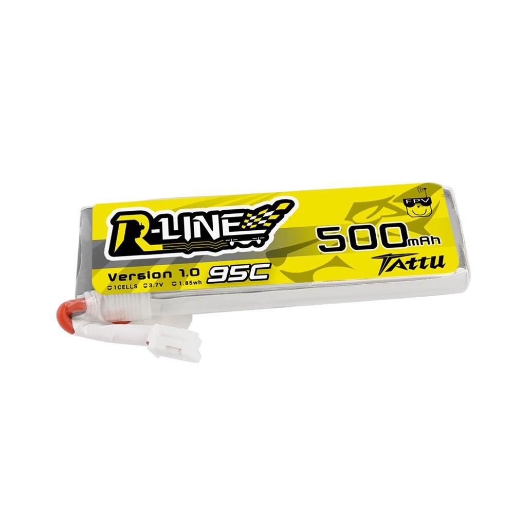 Tattu - 765 - 500mAh 3.7V 95C 1S1P Lipo JST-PHR Plug - Long Pack 58x18x8mm