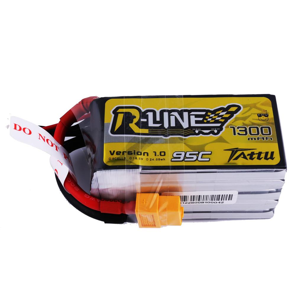 Tattu - 287 - 1300mAh 5S1P 18.5V 95C LiPo XT60 Plug Soft Case Racing Line 71.6x34.9x38.07mm