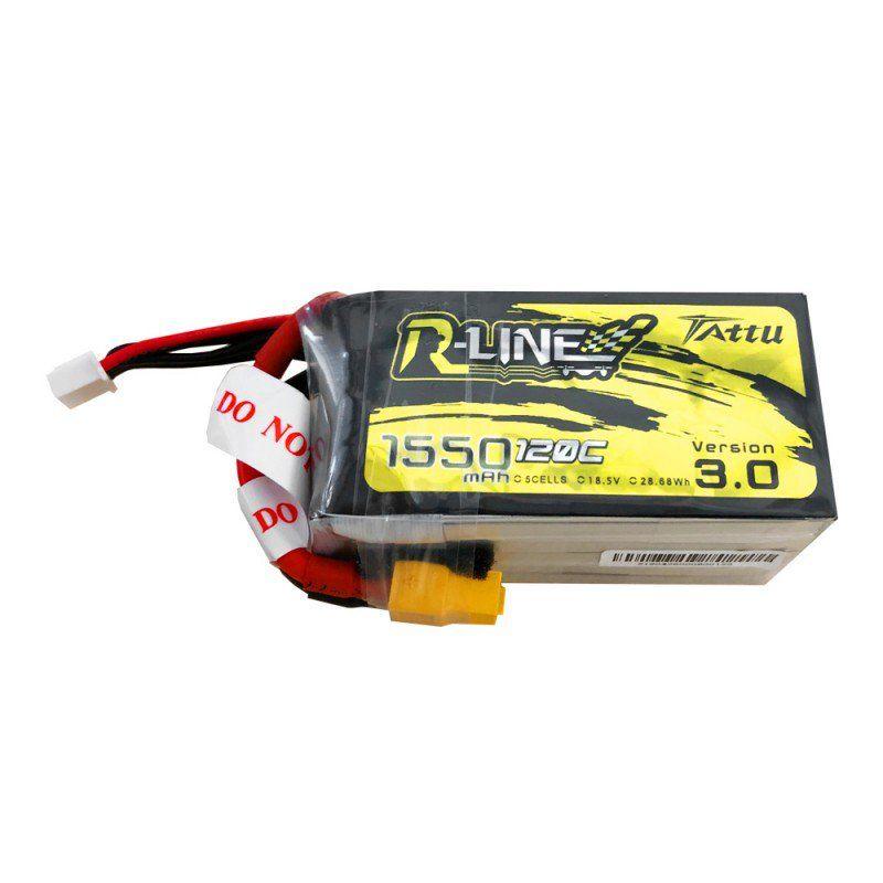 Tattu R-Line - 713 - Version 3.0 1550mAh 18.5V 120C 5S1P Lipo Battery Pack with XT60 Plug 77x39x40mm