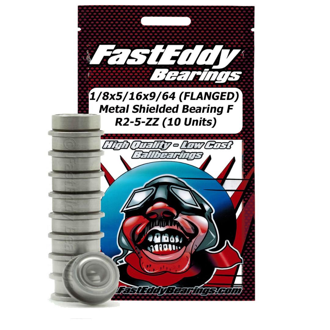 Fast Eddy 1/8x5/16x9/64 (FLANGED) Metal Shielded Bearing FR2-5-ZZ (10 Units)