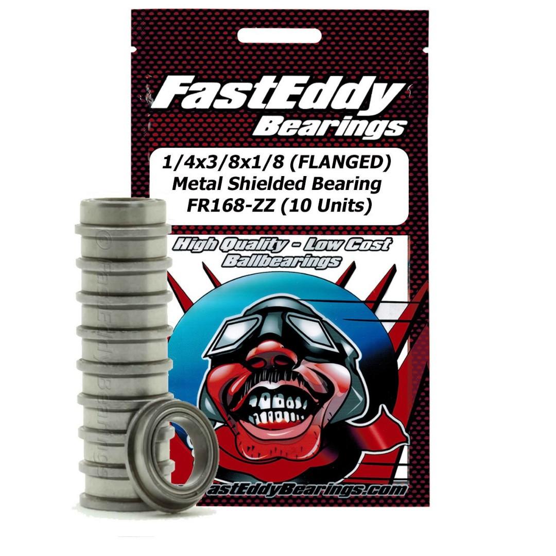 Fast Eddy 1/4x3/8x1/8 (FLANGED) Metal Shielded Bearing FR168-ZZ (10 Units)