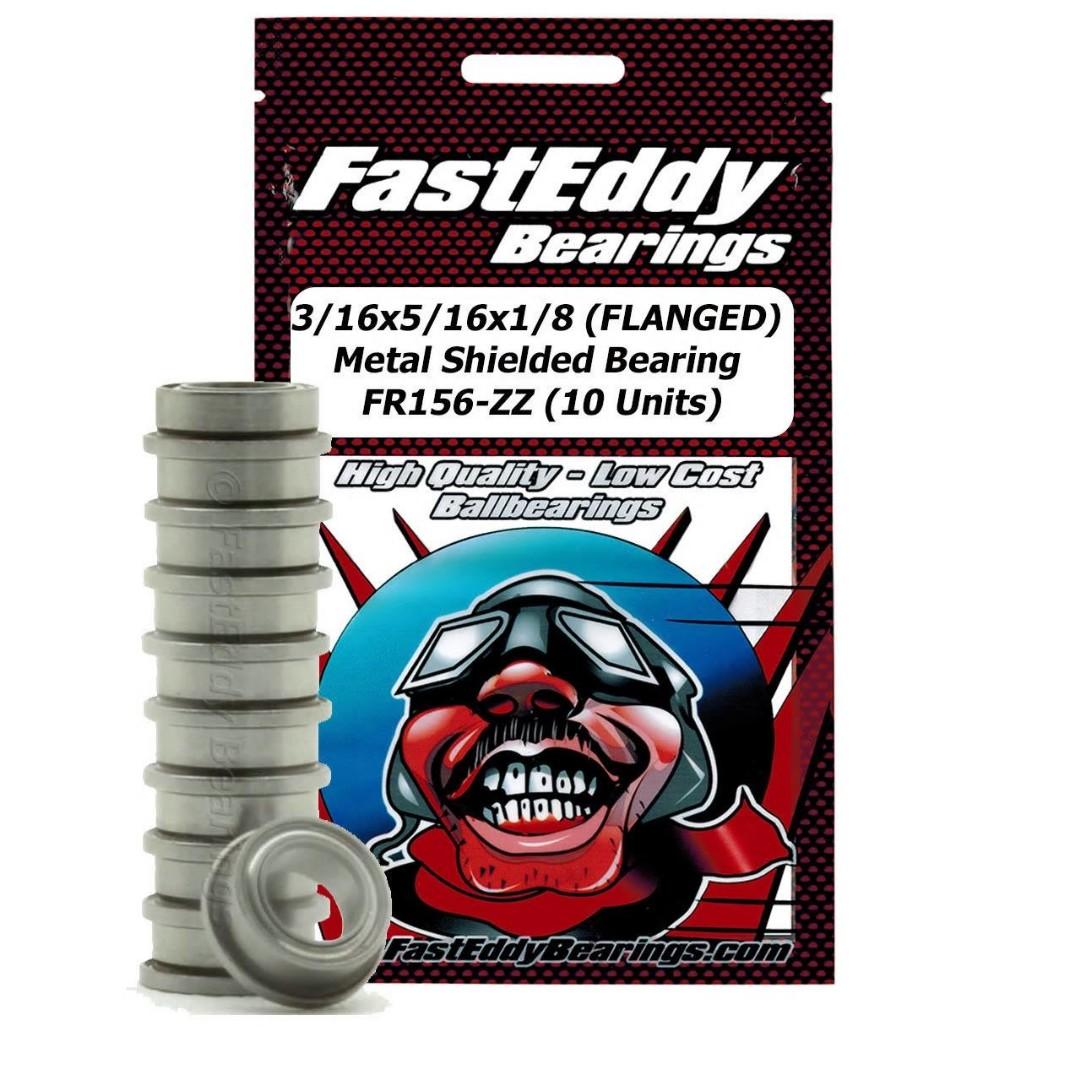 Fast Eddy 3/16x5/16x1/8 (FLANGED) Metal Shielded Bearing FR156-ZZ (10 Units)