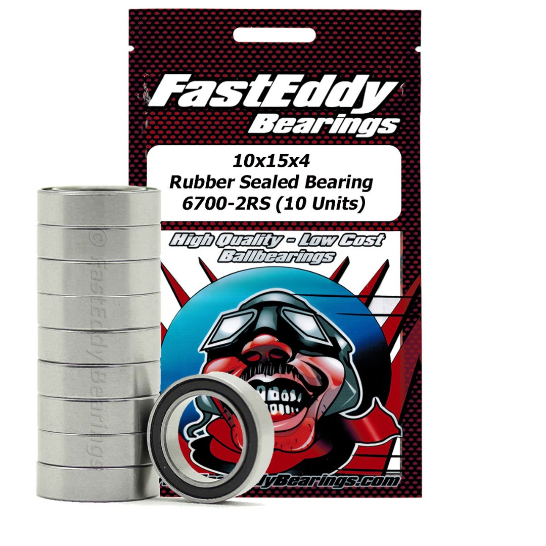 Fast Eddy Tamiya 1510 Rubber Sealed Replacement Bearing 10X15X4 (10 Units)