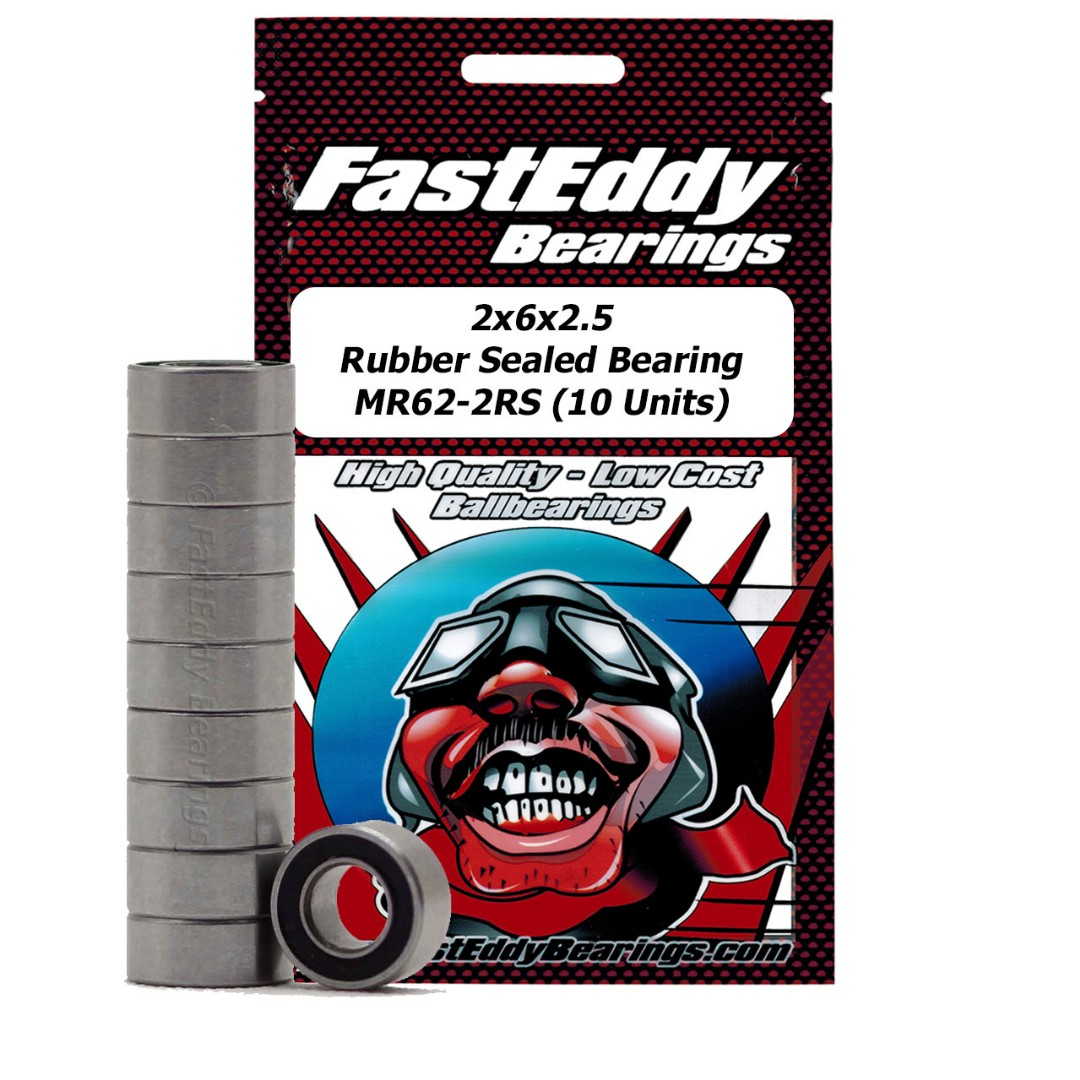 Fast Eddy Tamiya 620 Rubber Sealed Replacement Bearing 2X6X2.5 (10 Units)