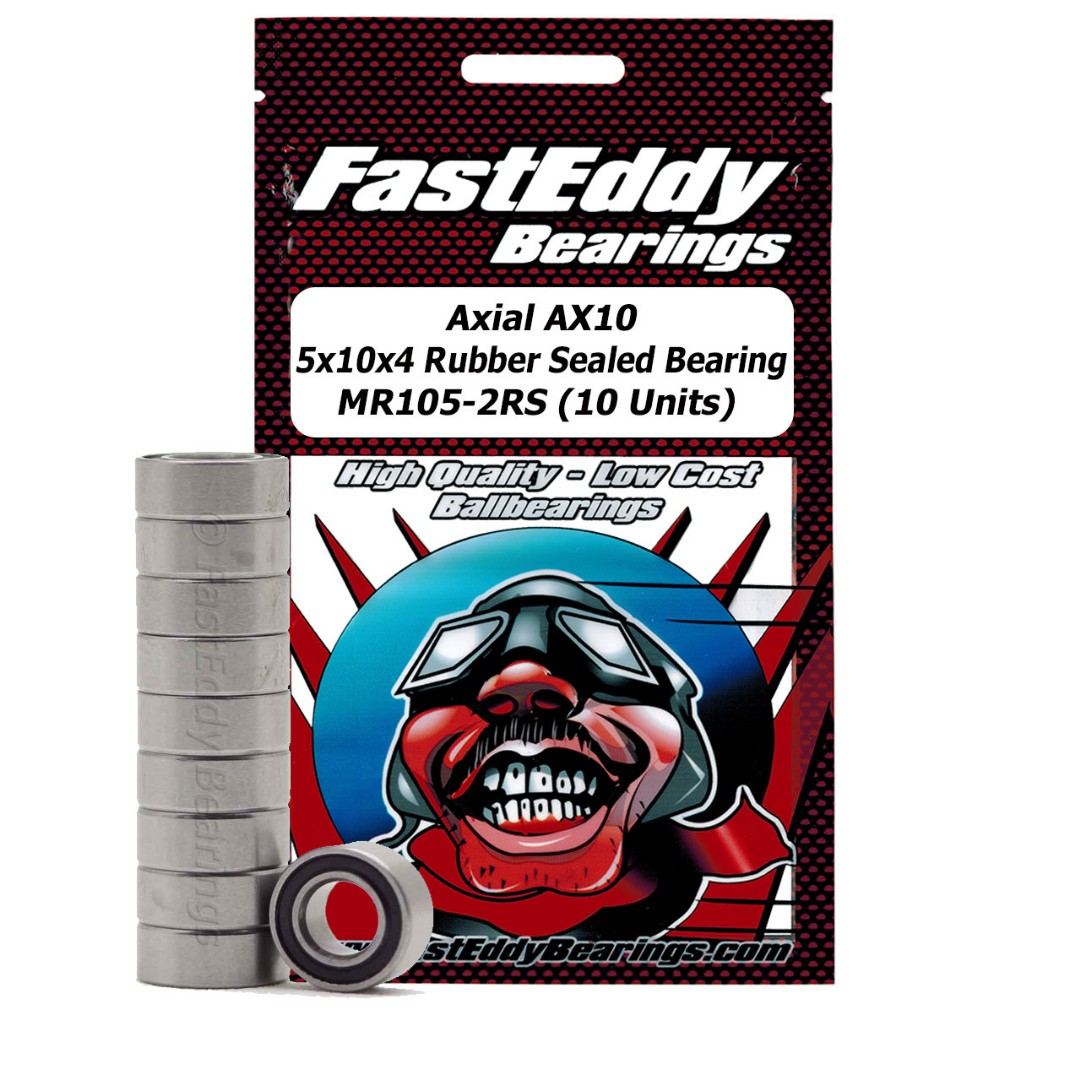 Fast Eddy Axial AX10 5x10x4 Rubber Sealed Bearing MR105-2RS (10 Units)