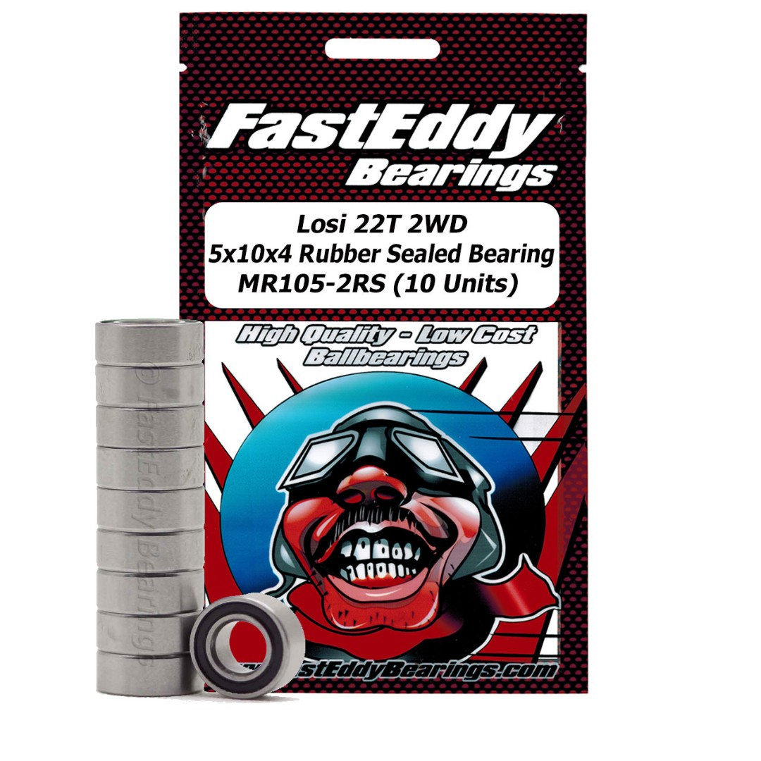 Fast Eddy Losi 22T 2WD 5x10x4 Sealed Bearing MR105-2RS (10 Units)