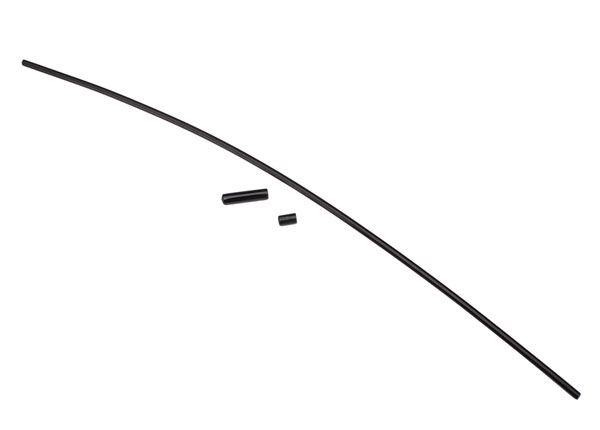 Traxxas Antenna, tube, black (1)/ vinyl antenna cap (1)/ wire r