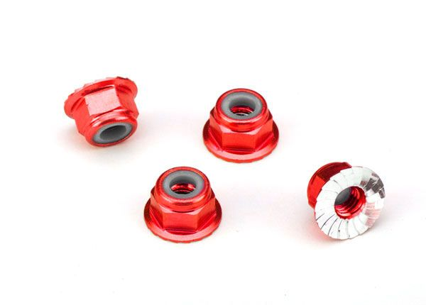 Traxxas 4mm Aluminum Flanged Serrated Nuts (Red) (4)