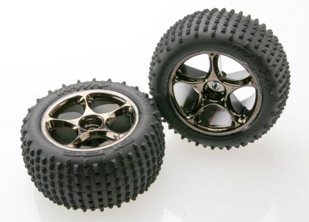Traxxas Tires & Wheels, Assembled (Tracer 2.2 Black Chrome Wheels, Alias 2.2 tires) (2) Bandit Rear, medium compound w/foam