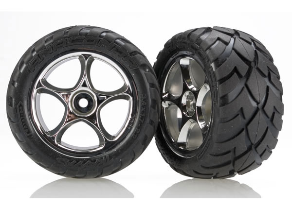 Traxxas Anaconda Rear Tires w/Tracer Wheels (2) (VXL Bandit) (Chrome) (Standard)