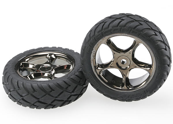 Traxxas Tires & wheels, assembled (Tracer 2.2' black chrome wheels, Anaconda 2.2' tires with foam inserts) (2) (Bandit front)