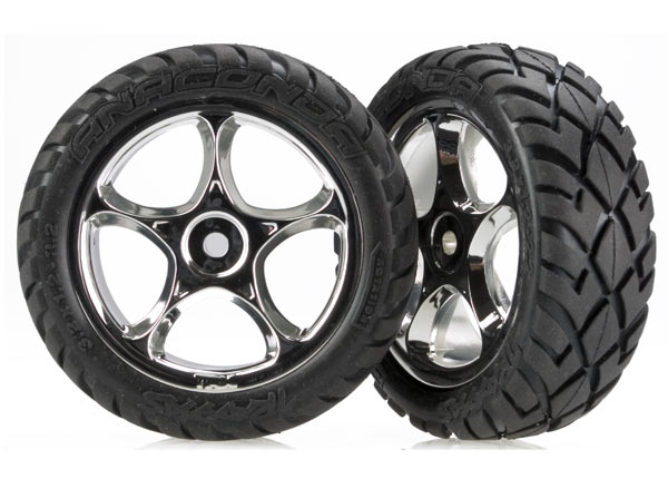 Traxxas Tires & wheels, assembled (Tracer 2.2' chrome wheels, Anaconda 2.2' tires with foam inserts) (2) (Bandit front)