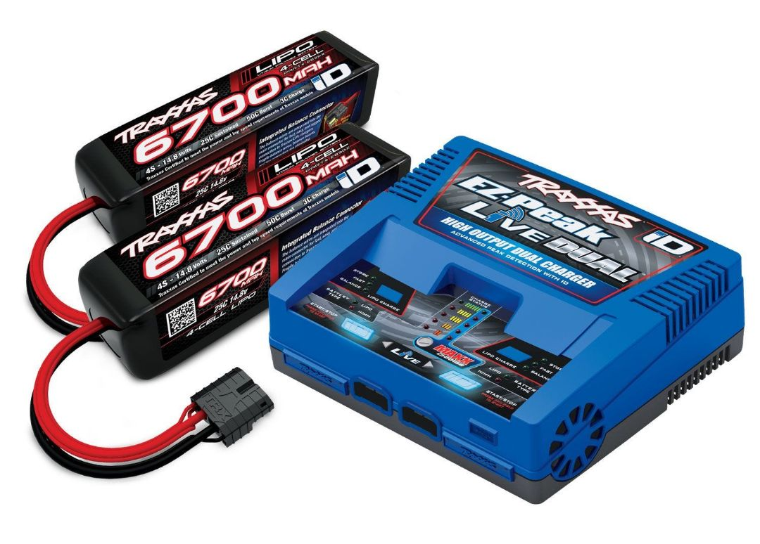 Traxxas EZ-Peak Dual Live 4S Completer Pack with 2 6700mAh LiPos