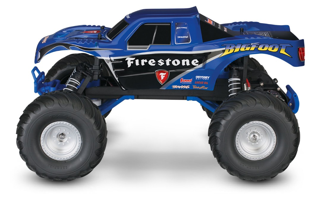 Traxxas Bigfoot Firestone 1/10 Scale 2WD Monster Truck - Blue, XL-5 brushed esc with Titan 12t motor, with 7 cell NiHM battery and 4A DC charger