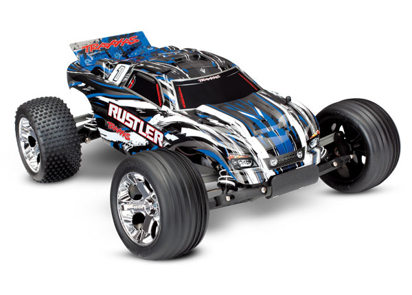 Traxxas Rustler: 1/10 Scale Stadium Truck, Fully-Assembled, Waterproof, Ready-To-Race, with TQ 2.4GHz Radio System, XL-5 Electronic Speed Control, and ProGraphix Painted Body - Blue Requires: Battery