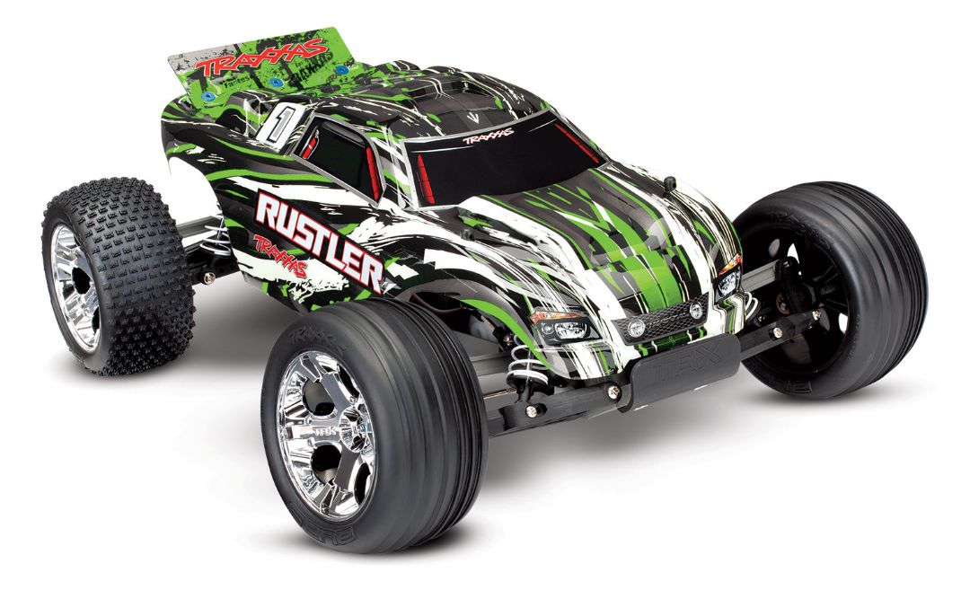 Traxxas Rustler: 1/10 Scale Stadium Truck, Fully-Assembled, Waterproof, Ready-To-Race, with TQ 2.4GHz Radio System, XL-5 Electronic Speed Control, and ProGraphix Painted Body - Green Requires: Battery