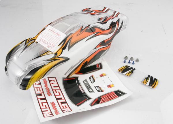Traxxas ProGraphix Rustler VXL Body /window, lights decal sheet/ wing and aluminum hardware