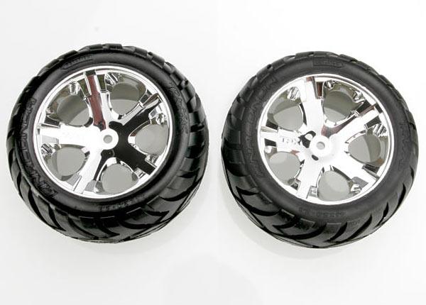Traxxas Anaconda Tires & wheels, assembled, glued (All Star chrome wheels, foam inserts) (electric rear) (1 left, 1 right)