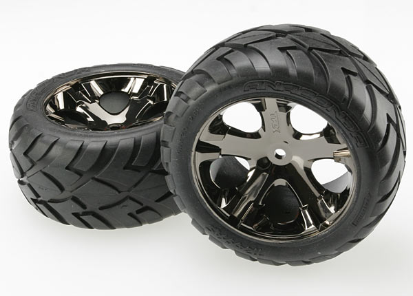 Traxxas Anaconda Rear Tires w/All-Star Wheels (2) (Black Chrome) (Standard)