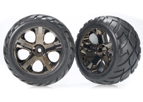 Traxxas Anaconda Tires w/All-Star Front Wheels (2) (Black Chrome) (Standard)