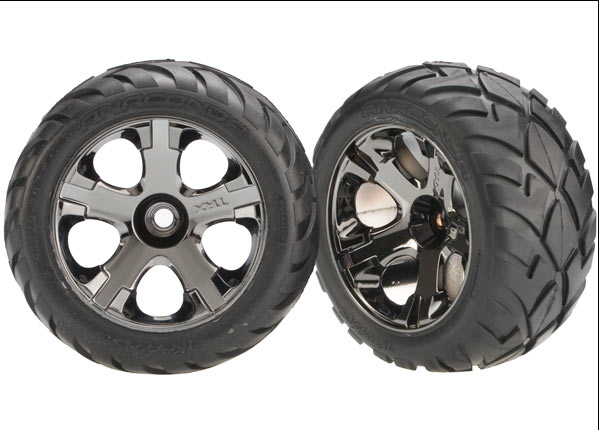 Traxxas Tires & Wheels, Assembled, Glued (All-Star Black Chrome Wheels, Anaconda Tires, Foam Inserts) (Nitro Front) (1 Left, 1 Right)