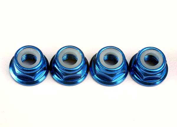 Traxxas Nuts, 5mm flanged nylon locking (aluminum, blue-anodized) (4)