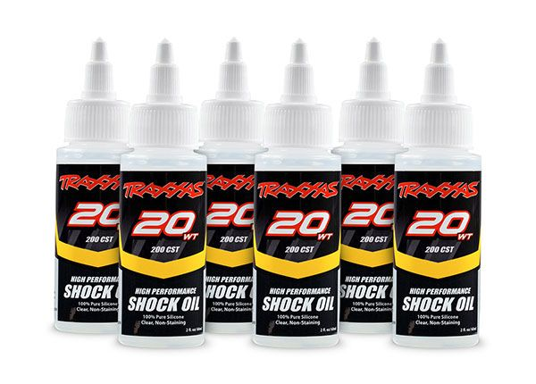 Traxxas Oil, shock (20 wt, 200 cSt, 60cc) (silicone) (6-pack)