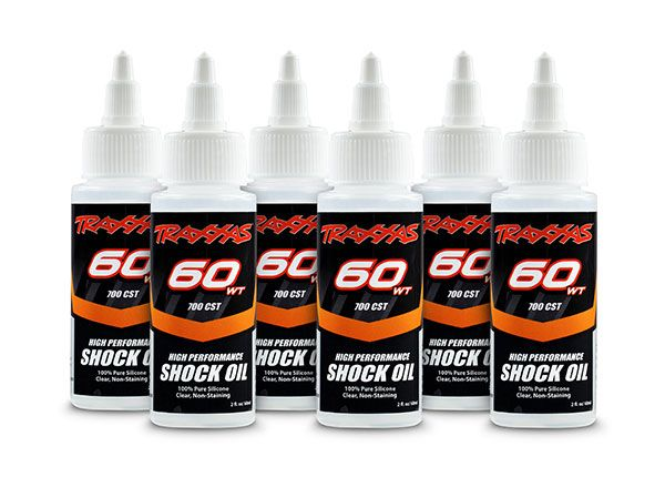 Traxxas Oil, shock (60 wt, 700 cSt, 60cc) (silicone) (6-pack)