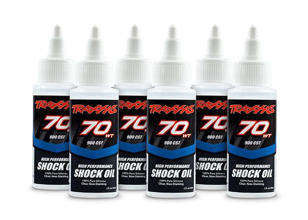 Traxxas Oil, shock (70 wt, 900 cSt, 60cc) (silicone) (6-pack)